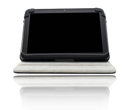 Tablet computer in cover isolated on white