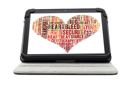 denial: Heartbleed exploit concept word cloud forming a heart shape on a white tablet screen