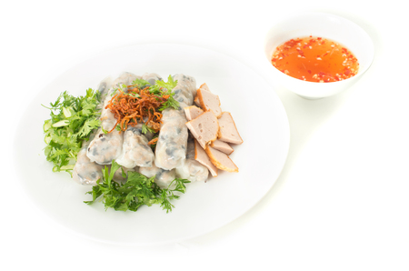cuon: Banh cuon, Vietnamese steamed rice noodle rolls and fish sauce