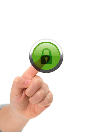 user friendly: Asian child finger touching lock button on a virtual touch screen