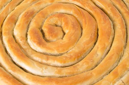 filo: Filo pastry roll close up