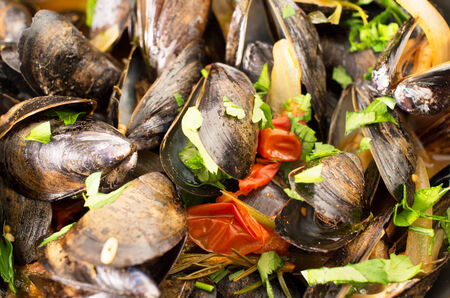 french food: Moules Marinieres - Mussels cooked with white wine sauce