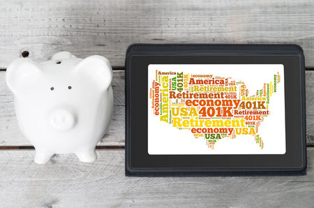 Online investment for 401k retirement plan concept photo