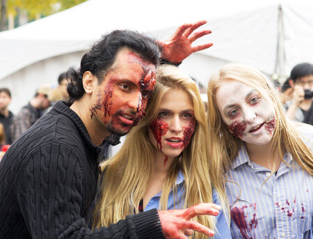 MONTREAL, QUEBEC, CANADA - OCTOBER 25 - Montreal Zombie Wal. A zombie walk is a public manifestation, where participants walk around dressed as zombies and have zombie makeup - 20141025 Editorial