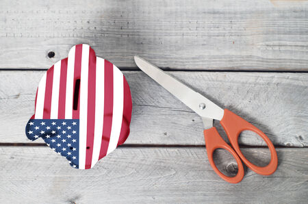wood cutter: America cutting cost with a piggy bank overlaid by american flag