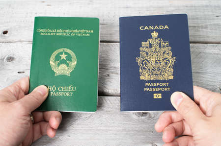 citizenship: Dual citizenship concept, Vietnamese and Canadian Stock Photo
