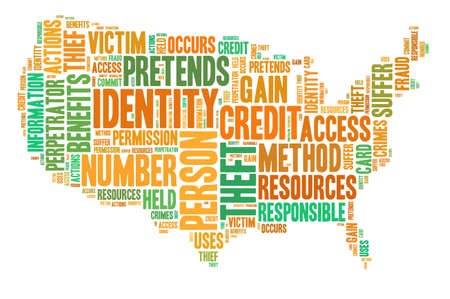 Identity theft concept with tag cloud forming the shape of American map photo