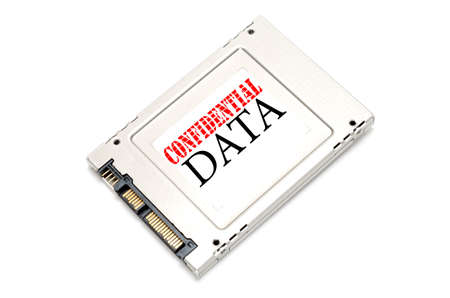 hard drive crash: Confidential information on Solid State Disk concept Stock Photo