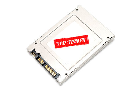 top secret: Top secret information on Solid State Disk concept Stock Photo