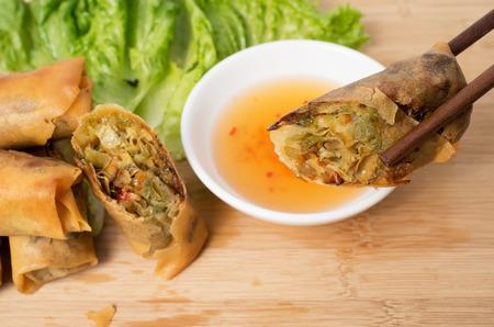 common bean: Vietnamese vegeratian egg rolls, cha gio chay Stock Photo
