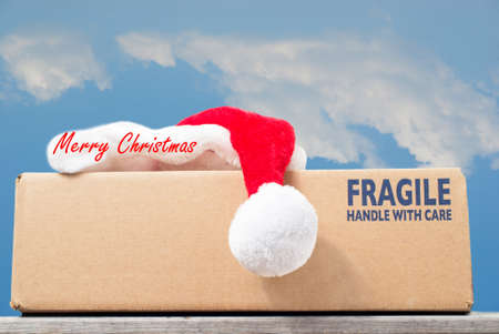 handle with care: Christmas gift delivery concept, fragile handle with care