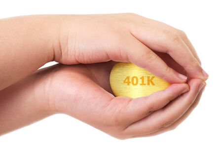 accrue: Golden retirement fund concept with golden egg Stock Photo