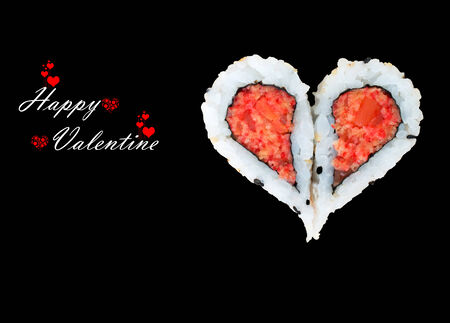 Two pieces of sushi forming the heart shape, Happy Valentine day