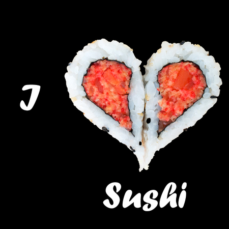 I love sushi concept with two pieces of sushi forming heart shape against black background