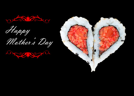 Two pieces of sushi forming the heart shape, Happy Mother's Day Stock Photo