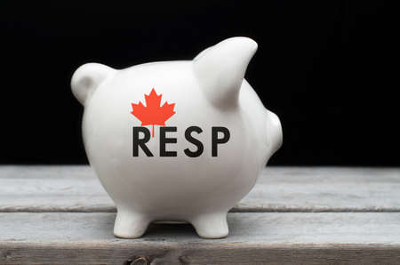 fragile economy: Canadian Registered Education Savings Plan, RESP concept with white piggy bank