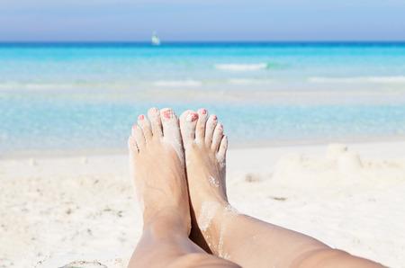 Sandy beach on the beach Stock Photo