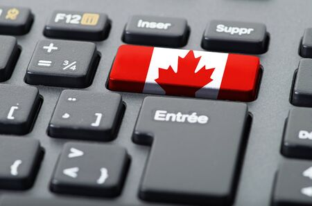 French keyboard with Canadian flag overlaid