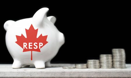 stacks of money: Canadian Registered Education Savings Plan concept Stock Photo