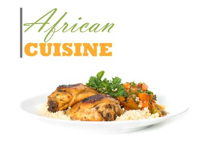 African cuisine concept with chicken thigh on couscous rice with copy space