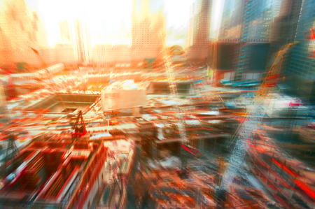 Abstract background construction site in New York, blurred and flare effects applied