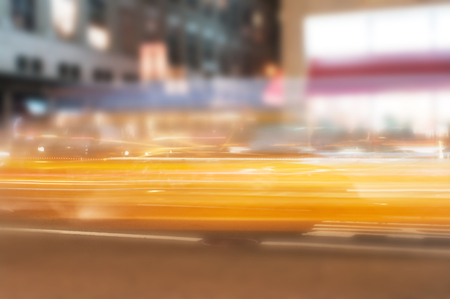smeared: Blurred  in motion yellow car lights, long exposure photo of traffic