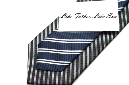 Like father like son bonding concept with two ties isolated on white background
