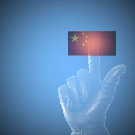 red handed: Online hacking China concept with balck leather glove on touch screen