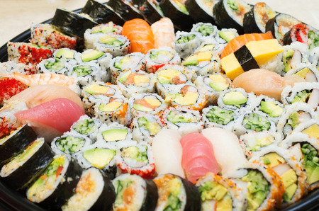 Different varieties  of sushis on a platter Stock Photo