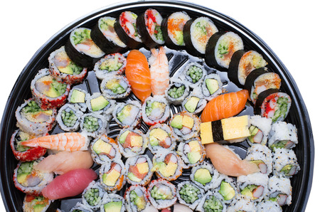 seafood platter: Different varieties  of sushis on a platter isolated on white background Stock Photo