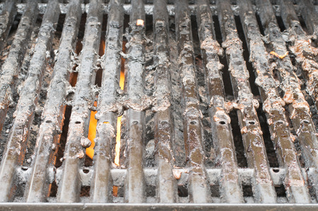 gas fireplace: Dirty barbeque grill