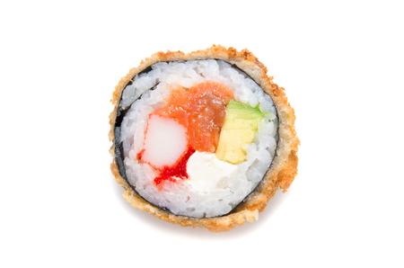 Deep-fried Japanese roll with crab meat, salmon, avocado, caviar, crispy breading  isolated on white background