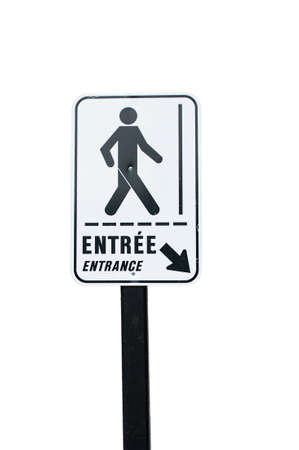 bilingual: Bilingual pedestrian entrance sign isolated on white background