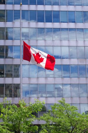 canadian flag: Canadian flag flies at half mast in front of government building
