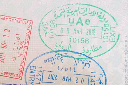 入り口と出口のパスポート スタンプ カナダのパスポートでアラブ首長国連邦 写真素材