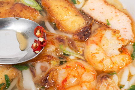 Banh Canh, Vietnamese traditional soup with big rice noodles and spicy fish sauce