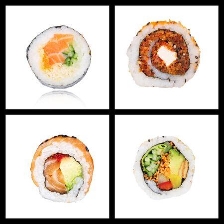 Collage of four Japanese sushi maki on white background