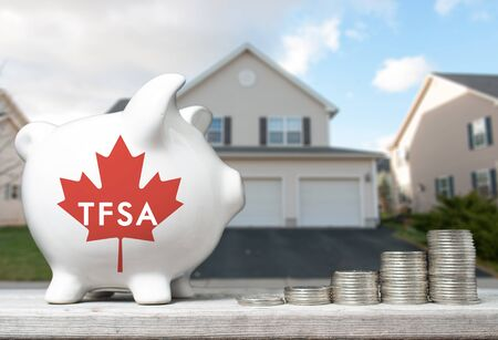 canadian coin: Canadian Tax-Free Savings Account concept with a piggy bank and coins stacks