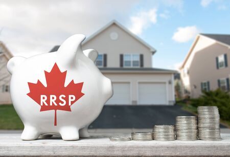 canadian coin: Canadian Registered Retirement Savings Plan concept with piggy bank and coins stacks