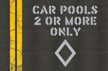 Car pools marking on asphalt concept Stock Photo