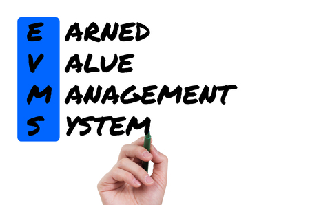 EVMS, handwriting Earned Value Managament System on white board Stok Fotoğraf