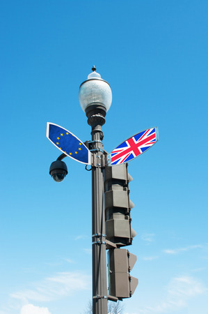 Brexit concept with traffic sign post  for decision