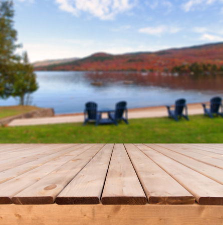 Canadian autumn view from a wooden deck perspective