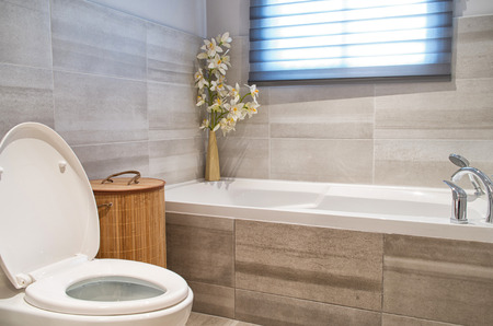 modern bathroom: Modern bathroom in luxury house