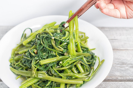 Vietnamese stir fried morning glory vegetable