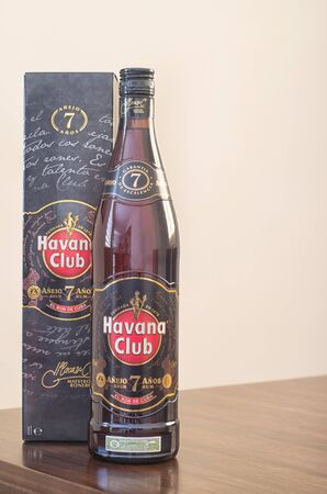 VARADERO,CUBA-JANUARY 7,2017:Cuban rum Havana Club 7 years old 1 liter bottle and box.Havana Club is a brand of rum created in Cuba in 1934, and now one of the best-selling rum brands in the world. Editorial