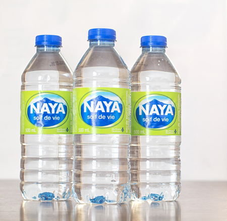 MONTREAL, QUEBEC, CANADA - JANUARY 8,2017: Naya 500ml bottled water. Located and drawn directly at spring in Mirabel, just north of Montreal. Company was found in 1986. Editorial