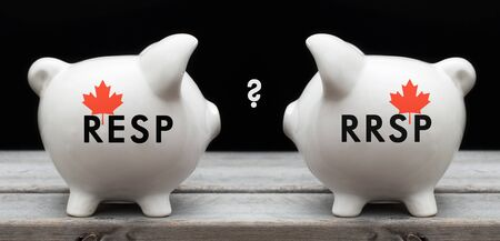 Financial concept depicting the choice between investing in RESP or RRSP for Canadian