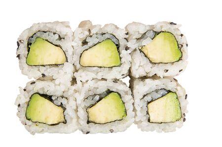Six Japanese avocado hosomaki isolated on white background