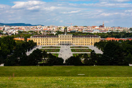 Panoramatic view on Schonbrunn Palace in Vienna, Austria.